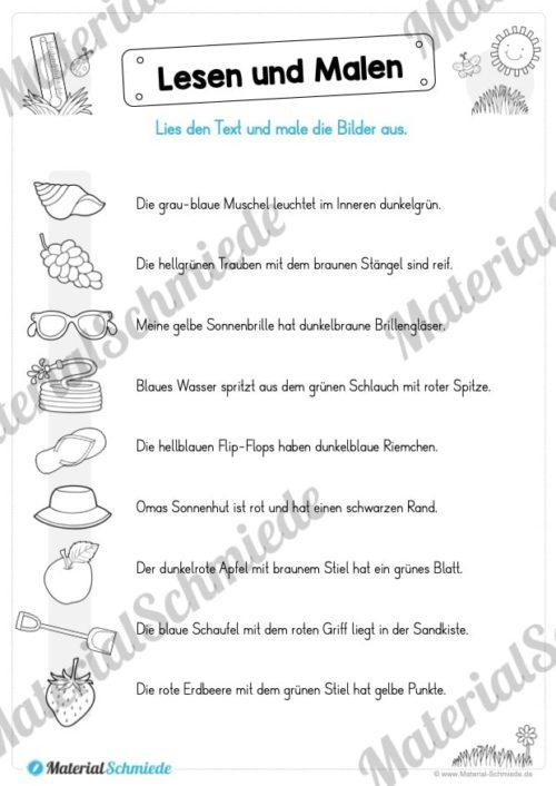 15 Arbeitsblätter: Lesen und Malen - Thema Sommer (Vorschau 05)