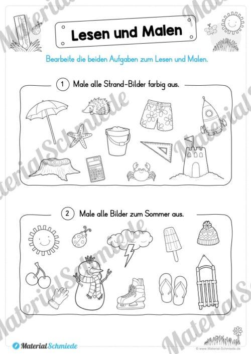 15 Arbeitsblätter: Lesen und Malen - Thema Sommer (Vorschau 06)