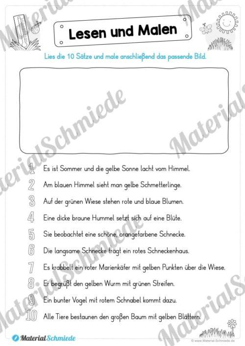 15 Arbeitsblätter: Lesen und Malen - Thema Sommer (Vorschau 10)