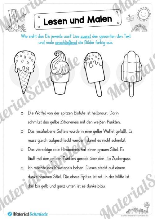15 Arbeitsblätter: Lesen und Malen - Thema Sommer (Vorschau 14)