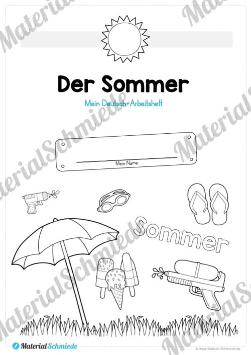 Materialpaket Sommer (25 Deutsch Arbeitsblätter) - Vorschau 01