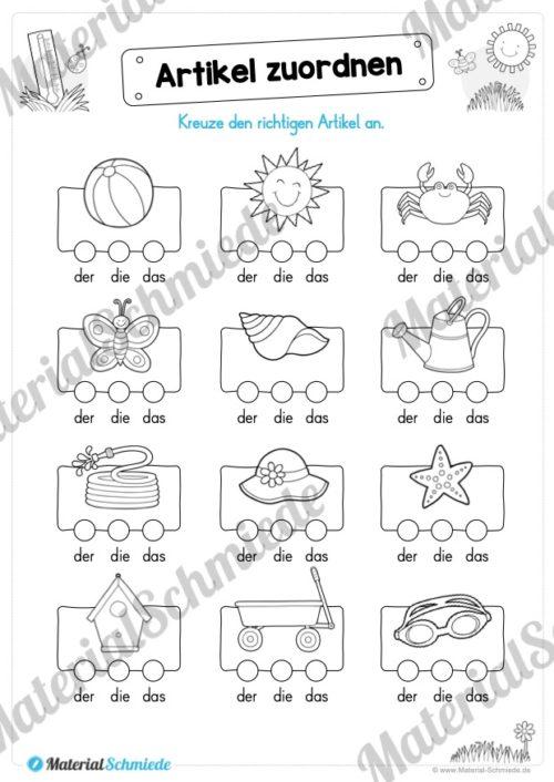 Materialpaket Sommer (25 Deutsch Arbeitsblätter) - Vorschau 02