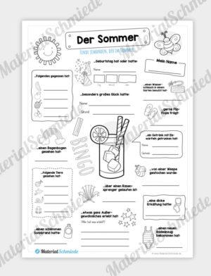 Arbeitsblatt: Bingo Sommer