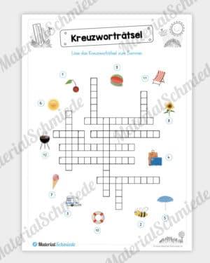 Arbeitsblatt: Kreuzworträtsel Sommer