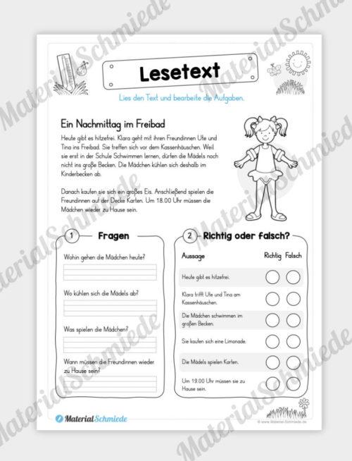 Unterrichtsmaterial: 10 Lesetexte zum Sommer (mit Aufgaben) - Vorschau 07