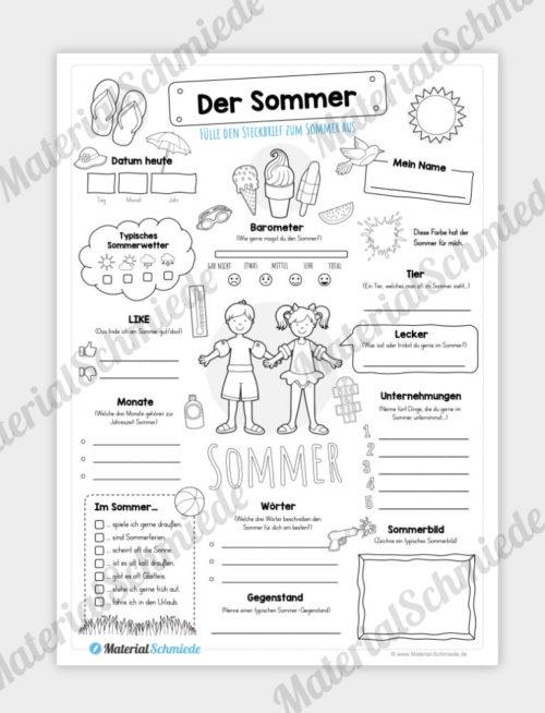 Arbeitsblatt: Steckbrief Sommer