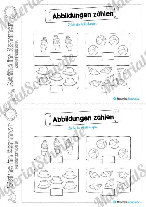Mathe Übungen Sommer - Zahlenraum bis 10 (Vorschau 02)