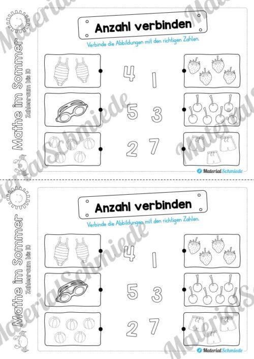 Mathe Übungen Sommer - Zahlenraum bis 10 (Vorschau 04)