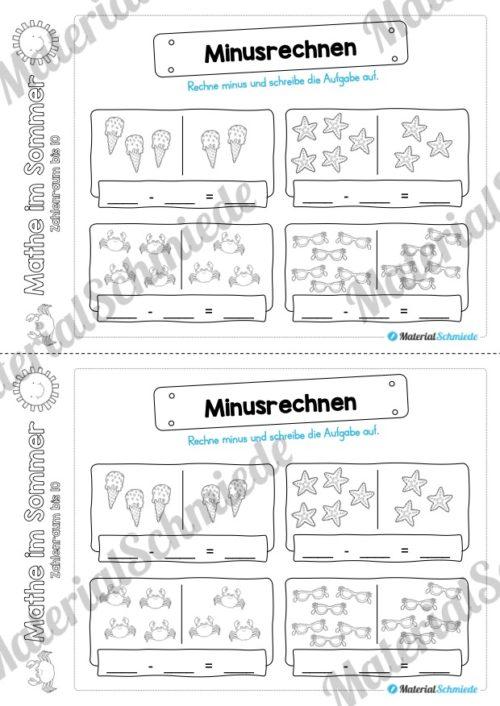 Mathe Übungen Sommer - Zahlenraum bis 10 (Vorschau 10)
