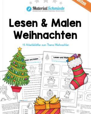 Lesen & Malen zu Weihnachten (15 Arbeitsblätter)