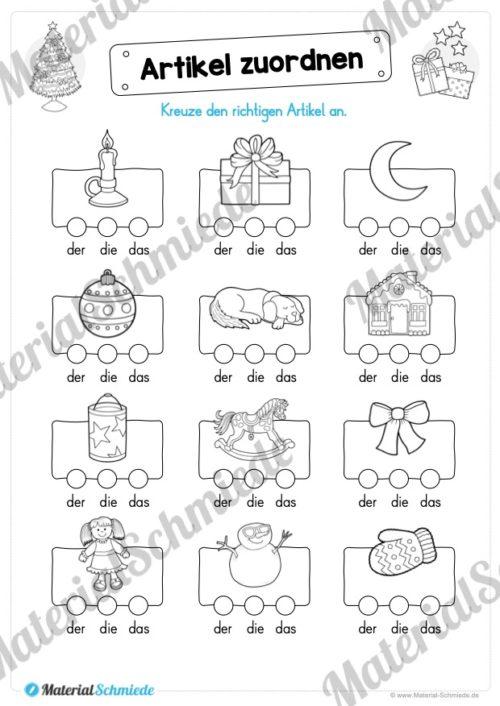 Materialpaket Weihnachten: 25 Arbeitsblätter (Artikel zuordnen)