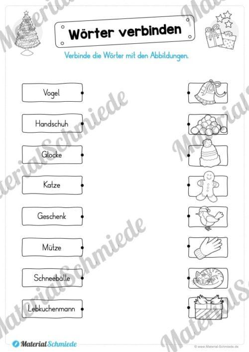 Materialpaket Weihnachten: 25 Arbeitsblätter (Wörter verbinden)