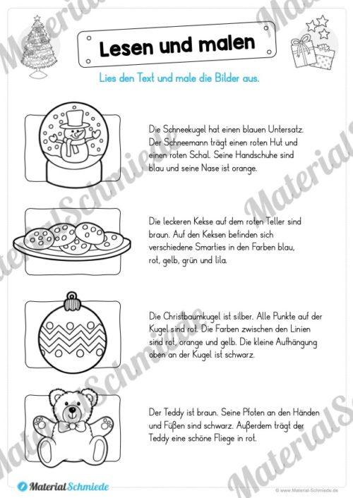 Materialpaket Weihnachten: 25 Arbeitsblätter (Lesen & Malen)