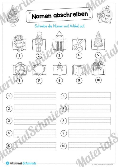 Materialpaket Weihnachten: 25 Arbeitsblätter (Nomen abschreiben)