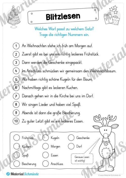 Materialpaket Weihnachten: 25 Arbeitsblätter (Blitzlesen)