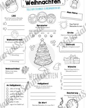 Steckbrief zu Weihnachten (Variante 02)