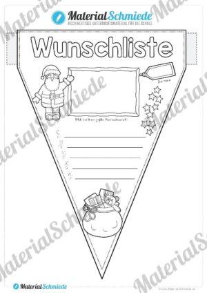 Wimpel: Wunschliste zu Weihnachten