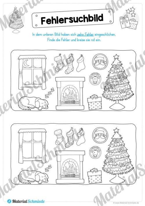 15 Rätsel zu Weihnachten (Fehlersuchbild)