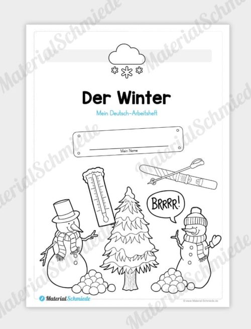 Materialpaket Winter: Deutsch (1/2 Klasse) - Deckblatt