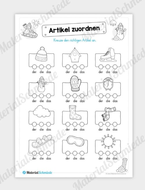 Materialpaket Winter: Deutsch (1/2 Klasse) - Artikel zuordnen