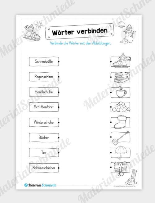 Materialpaket Winter: Deutsch (1/2 Klasse) - Wörter verbinden