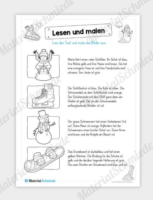 Materialpaket Winter: Deutsch (1/2 Klasse) - Lesen und malen