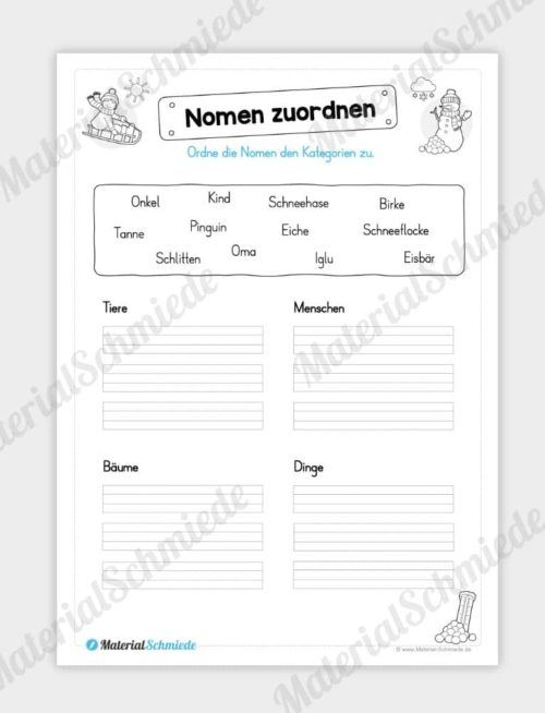 Materialpaket Winter: Deutsch (1/2 Klasse) - Nomen zuordnen