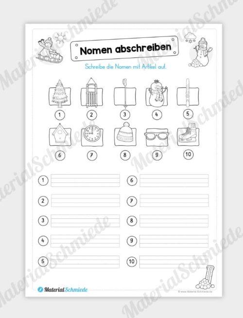 Materialpaket Winter: Deutsch (1/2 Klasse) - Nomen abschreiben