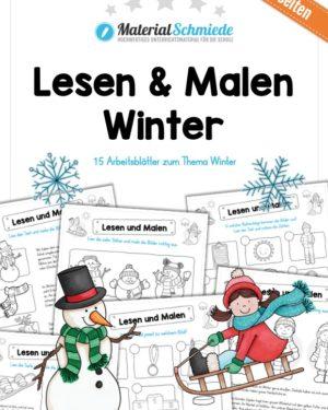 Lesen & Malen im Winter (15 Arbeitsblätter)