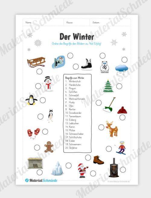 20 Winter-Abbildungen Begriffen zuordnen