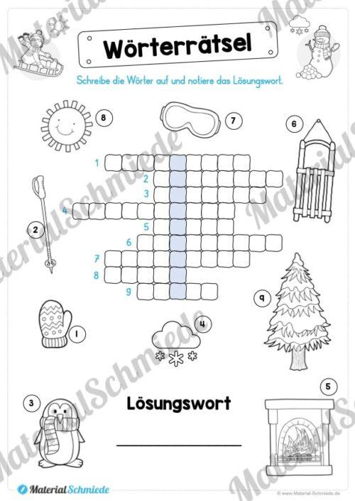 15 Rätsel zum Winter (Wörterrätsel)