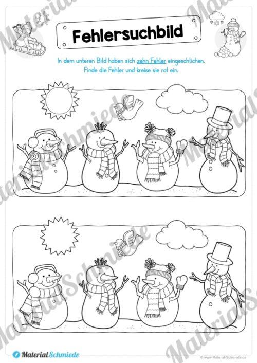 15 Rätsel zum Winter (Fehlersuchbild)