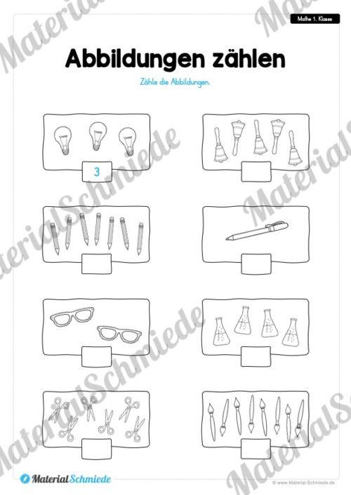 20 Mathe Übungen 1. Klasse (Abbildungen zählen)