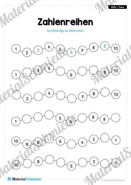 20 Mathe Übungen 1. Klasse (Zahlenreihen)