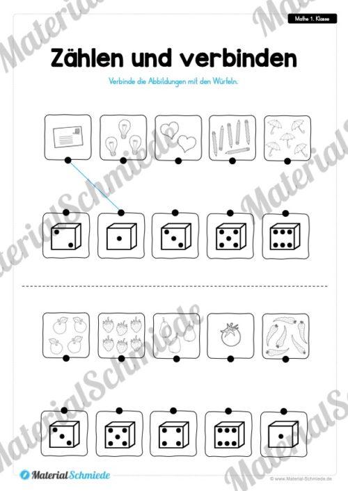20 Mathe Übungen 1. Klasse (Zählen & verbinden)
