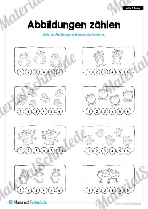 20 Mathe Übungen 1. Klasse (Abbildungen zählen und ankreuzen)