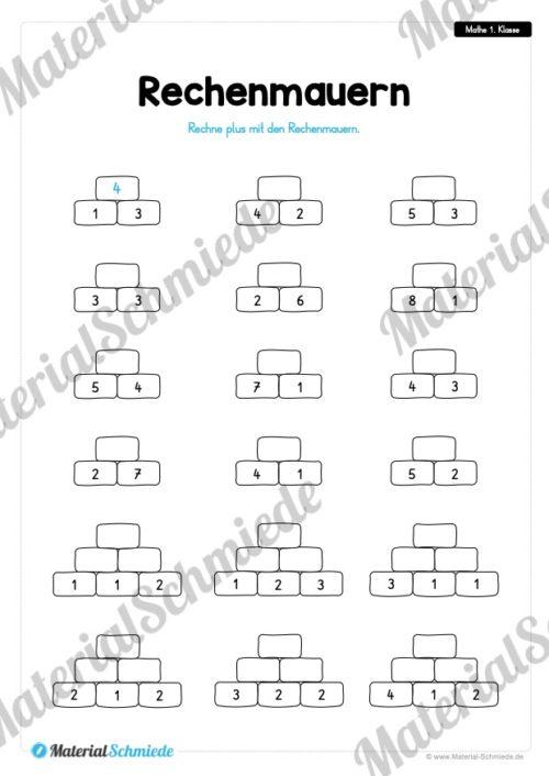 20 Mathe Übungen 1. Klasse (Rechenmauern)