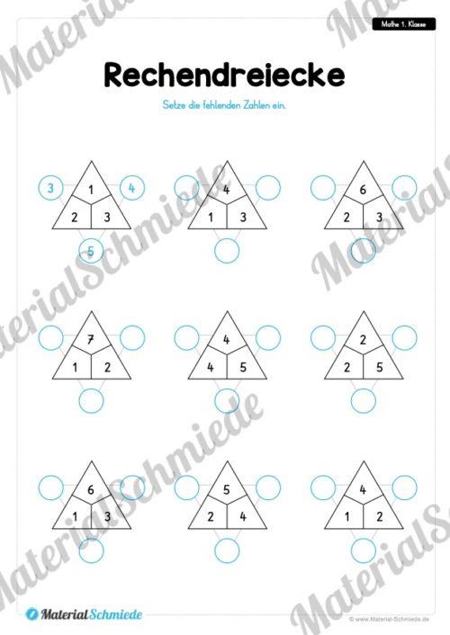 20 Mathe Übungen 1. Klasse (Rechendreiecke)