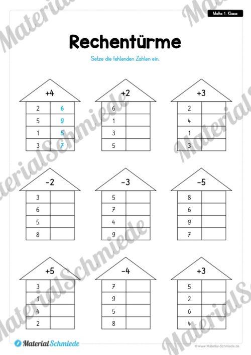 20 Mathe Übungen 1. Klasse (Rechentürme)