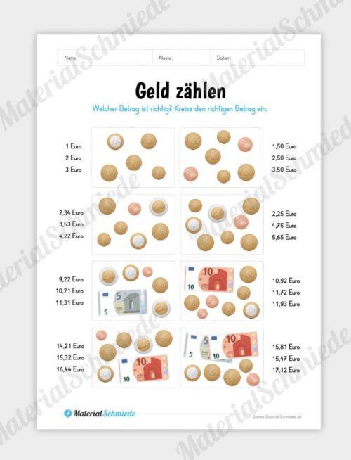 Materialpaket: Geld & Euro - Geld zählen