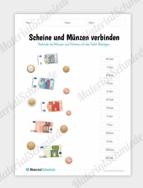 Materialpaket: Geld & Euro - Scheine und Münzen mit Beträgen verbinden