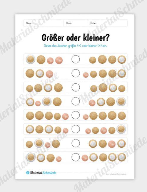 Materialpaket: Geld & Euro - Größer/Kleiner mit Münzen
