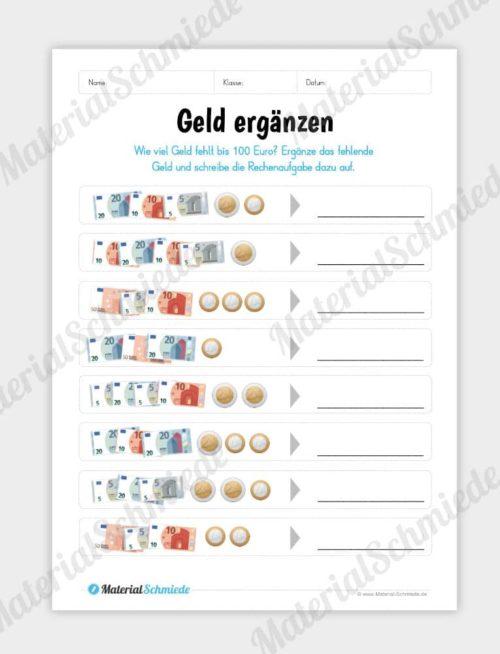 Materialpaket: Geld & Euro - Geld ergänzen
