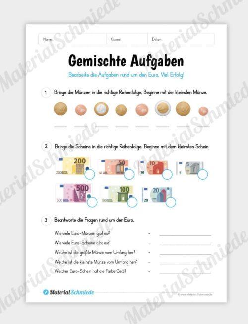Materialpaket: Geld & Euro - Gemischte Aufgaben