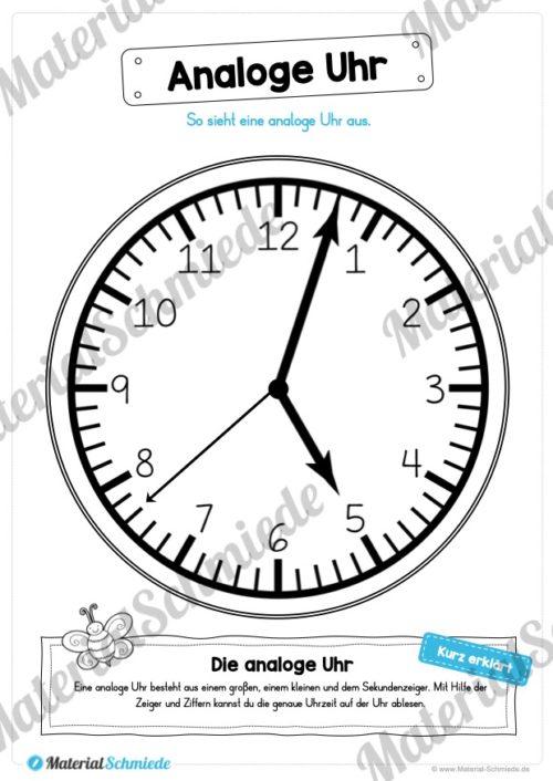 Uhr und Uhrzeit kennenlernen (Analgoe Uhr)