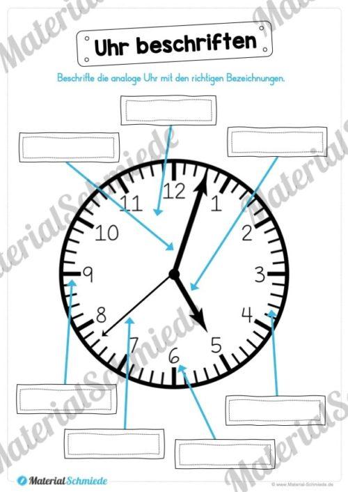 Uhr und Uhrzeit kennenlernen (Uhr beschriften)
