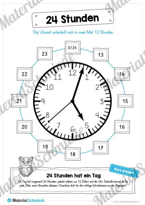 Uhr und Uhrzeit kennenlernen (24 Stunden)