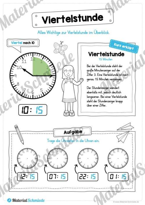 Uhr und Uhrzeit kennenlernen (Viertelstunde)