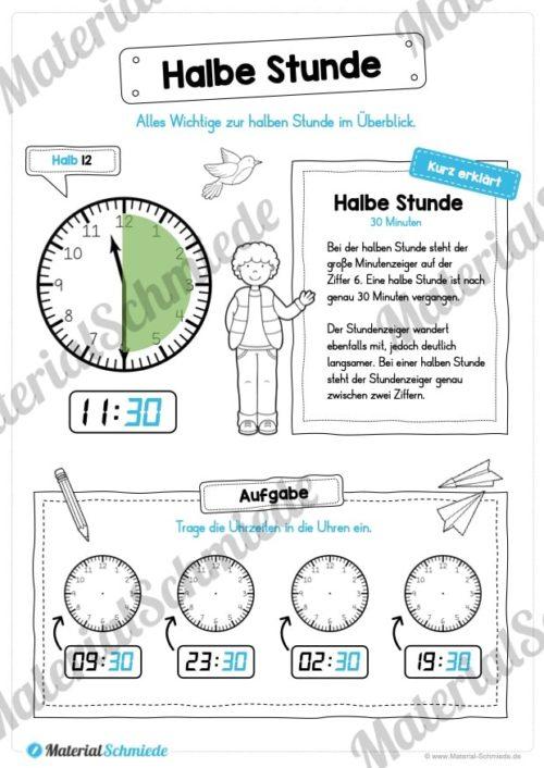 Uhr und Uhrzeit kennenlernen (Halbe Stunde)