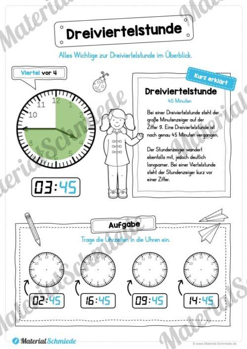 Uhr und Uhrzeit kennenlernen (Dreiviertelstunde)